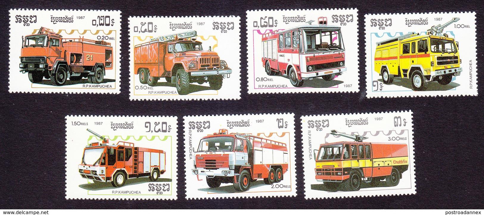 Cambodia, Scott #823-829, Mint Hinged, Fire Trucks, Issued 1987 - Cambodge