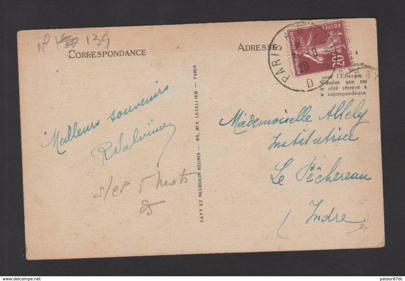 FRANCE / 1907 / Y&T N° 139 : Semeuse Camée 20c Brun - Sur CP Du 3/08/1928 (Ambulant Paris à Bayonne - D) - Marcophilie (Lettres)