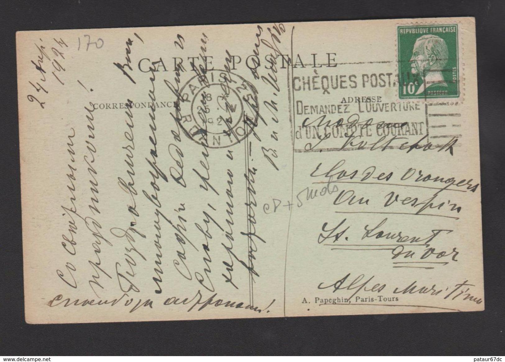 FRANCE / 1923 / Y&T N° 170 : Pasteur 10c Vert - Sur CP Du 25/04/1924 - Marcophilie (Lettres)