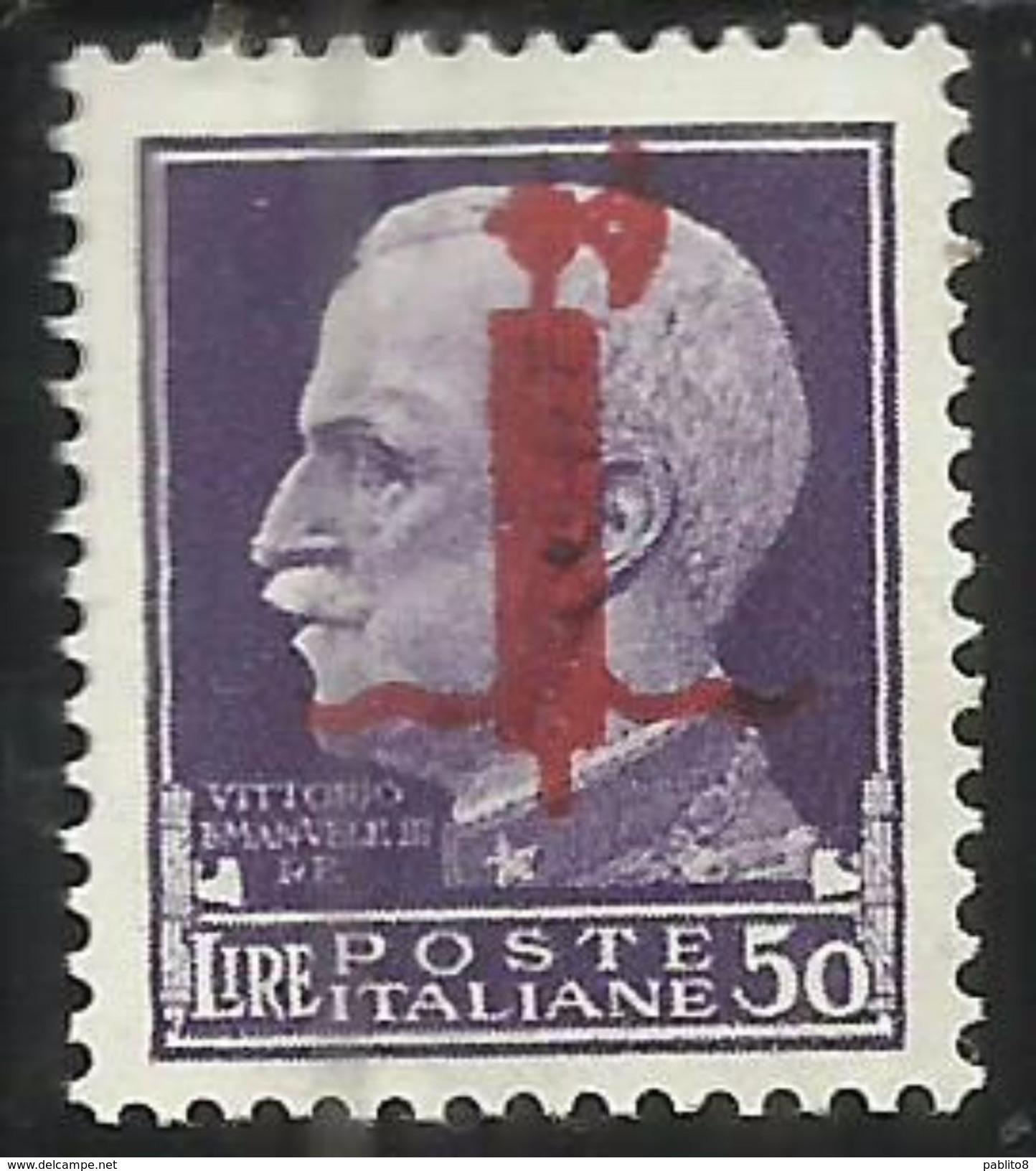 ITALY KINGDOM ITALIA REGNO 1944 REPUBBLICA SOCIALE RSI EMISSIONE DI VERONA LIRE 50 MNH BEN CENTRATO CERTIFICATO - 4. 1944-45 Repubblica Sociale