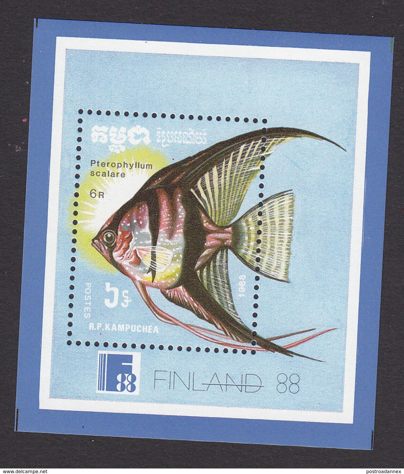 Cambodia, Scott #883, Mint Hinged, Fish, Issued 1988 - Cambogia