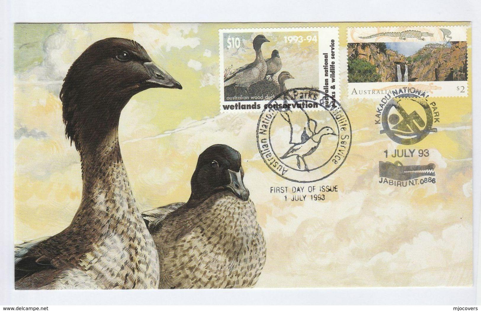 1993 AUSTRALIA FDC $2 With $10 Wetland CONSERVATION DUCKS Label SPECIAL Pmk KAKADU NATIONAL PARK Cover Stamp Bird Birds - Ducks