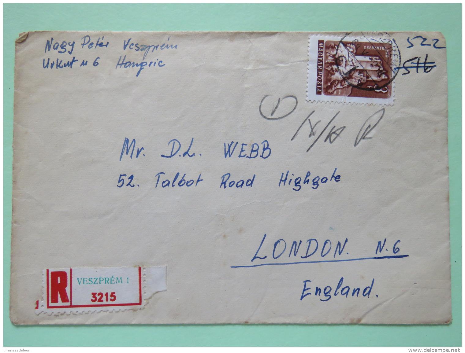 Hungary 1964 Registered Cover Veszprem To England - Castle - Hungary