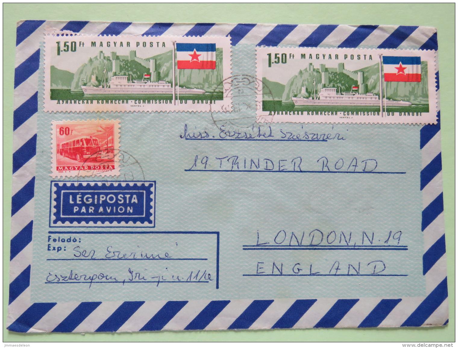 Hungary 1969 Cover Esztergem To England - Bus - Ships - Danube Comission - Flag - Hungary