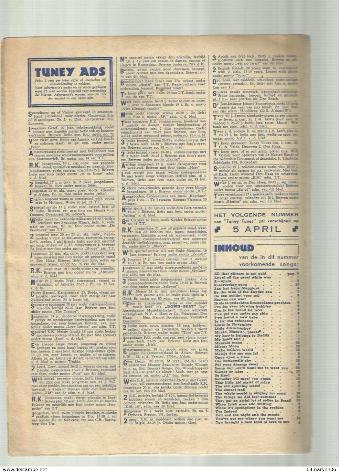 "-**- """"  TUNEY  TUNES """" Maandblad  N° 38  ---6 Maart  1947 - Musique & Instruments"