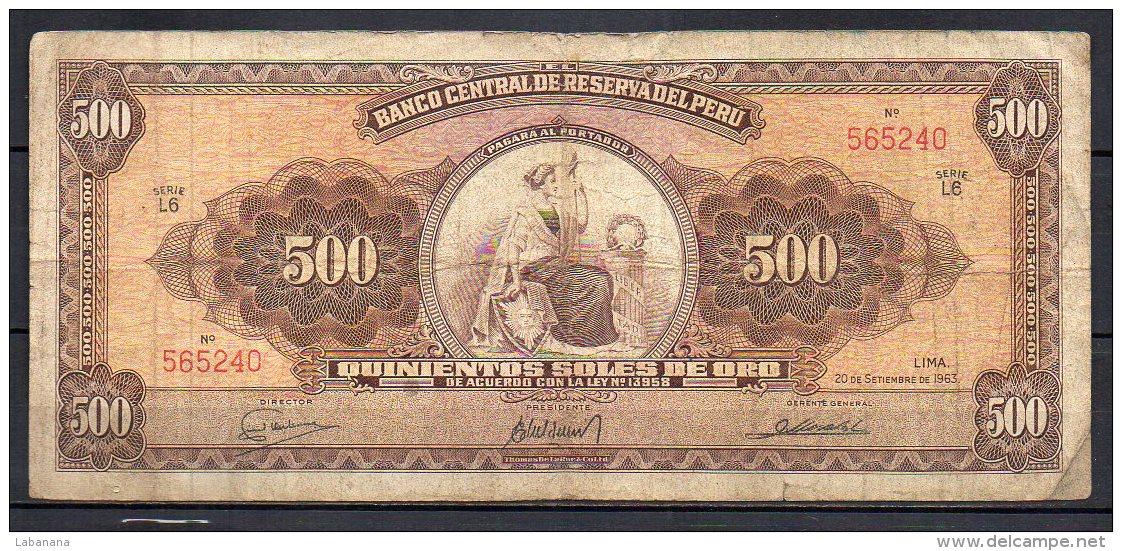 534-Pérou Billet De 500 Soles De Oro 1963 L6 - Pérou