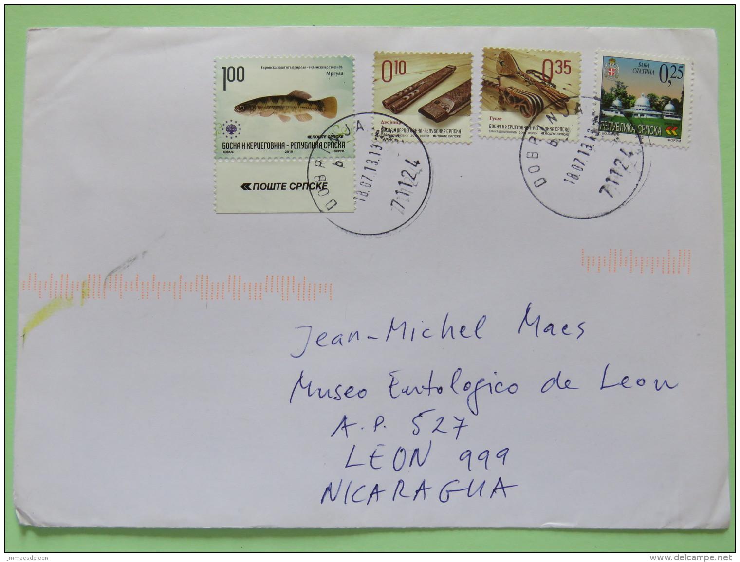 Bosnia & Herzegovina 2013 Cover Dobrinja To Nicaragua - Fish - Music Instruments Flute Guitar - Church Or Mosque - Bosnia And Herzegovina