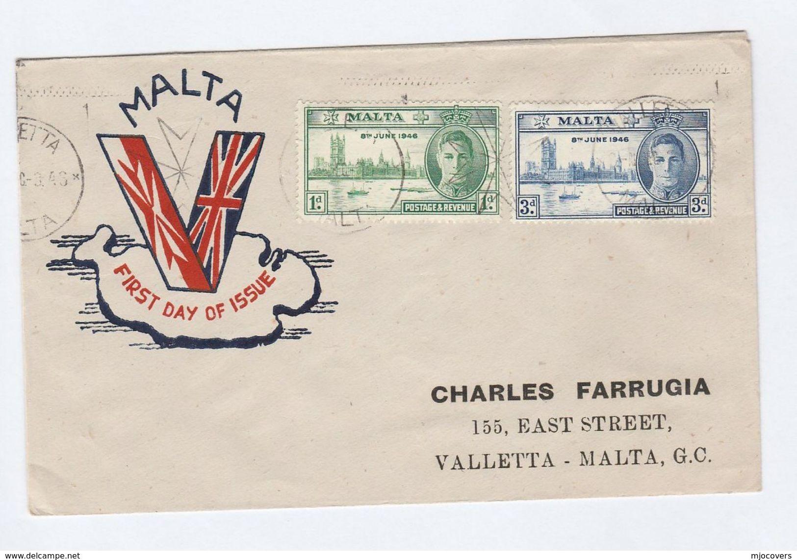 1946 MALTA FDC Stamps VICTORY Cover - Malta