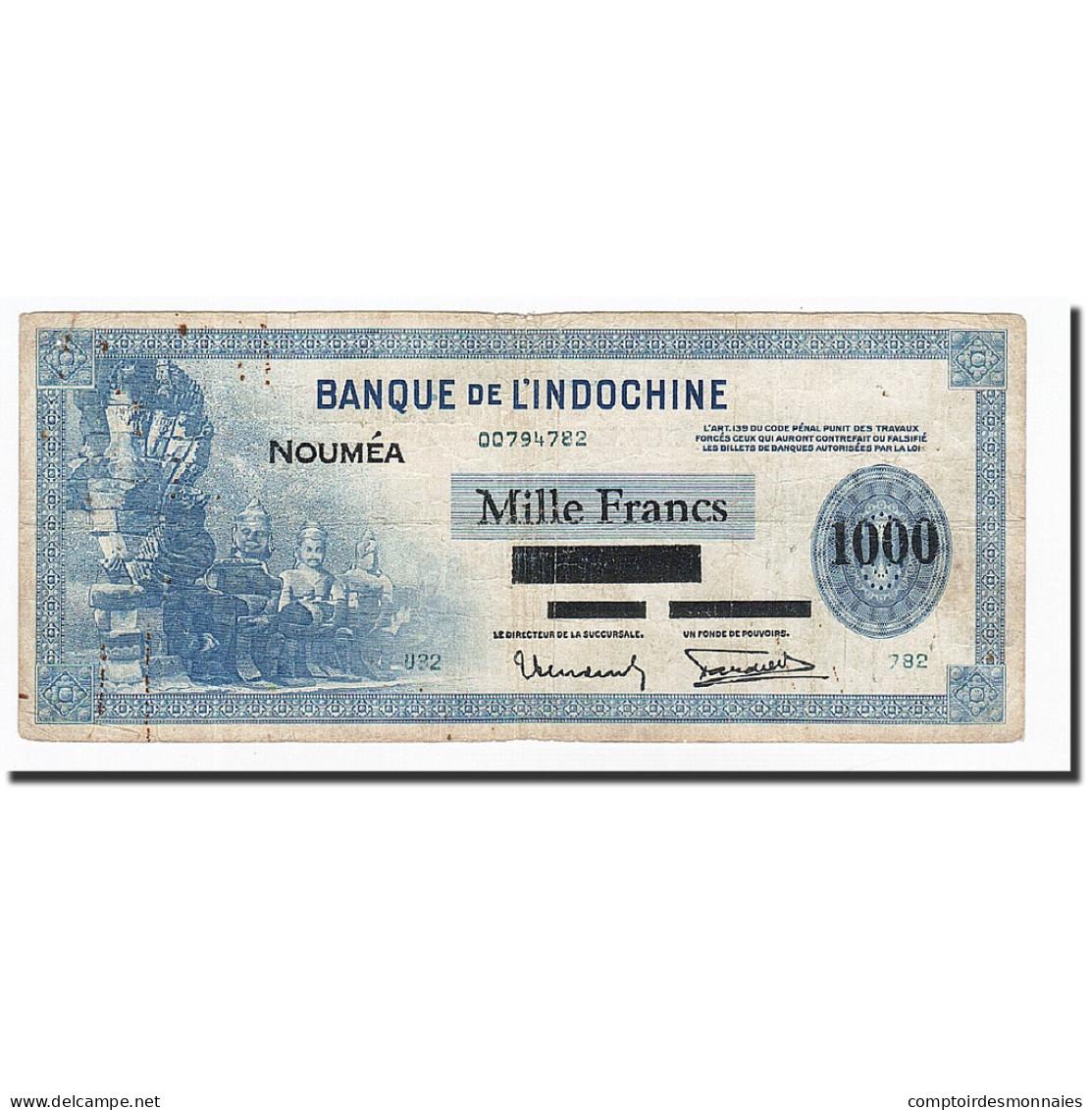 Nouvelle-Calédonie, 1000 Francs, Undated (1943), KM:45, B+ - Nouvelle-Calédonie 1873-1985