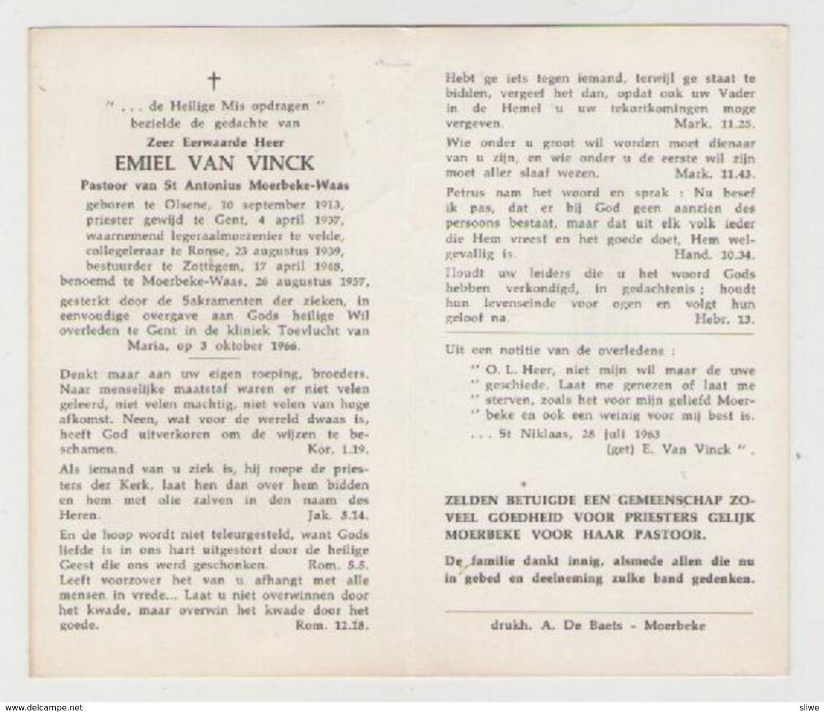 BIDPRENTJE  PRIESTER EMIEL VAN VINCK OLSENE RONSE ZOTTEGEM MOERBEKE - Religion & Esotérisme
