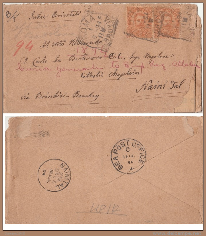 Italy  1894  SEA POST OFFICE / C  Cover  Rome To Nainital India Via Brindsi  # 98694   Inde Indien - 1878-00 Umberto I