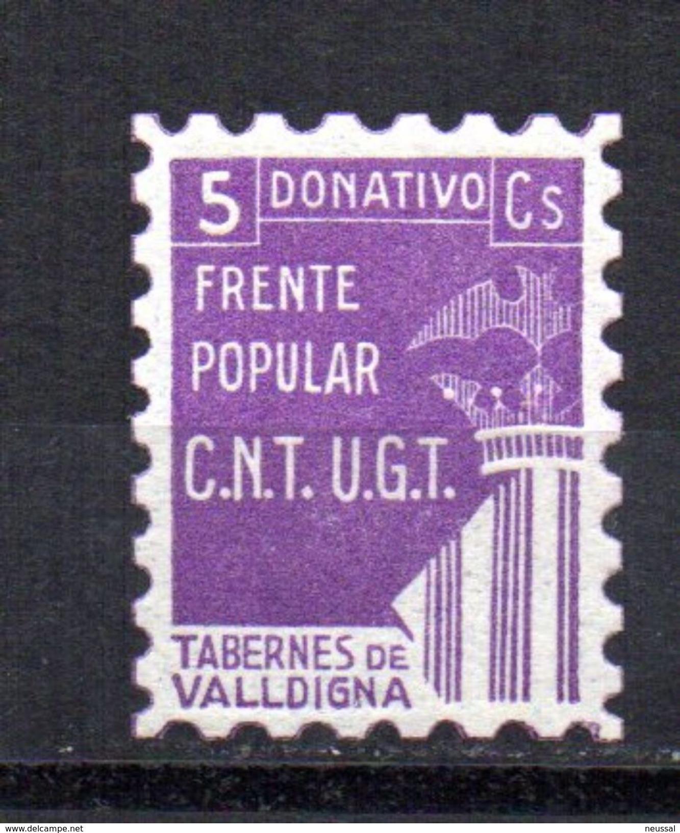 Viñeta  Nº 1   Frente Popular Tabernes De Valldigna. - Vignettes De La Guerre Civile