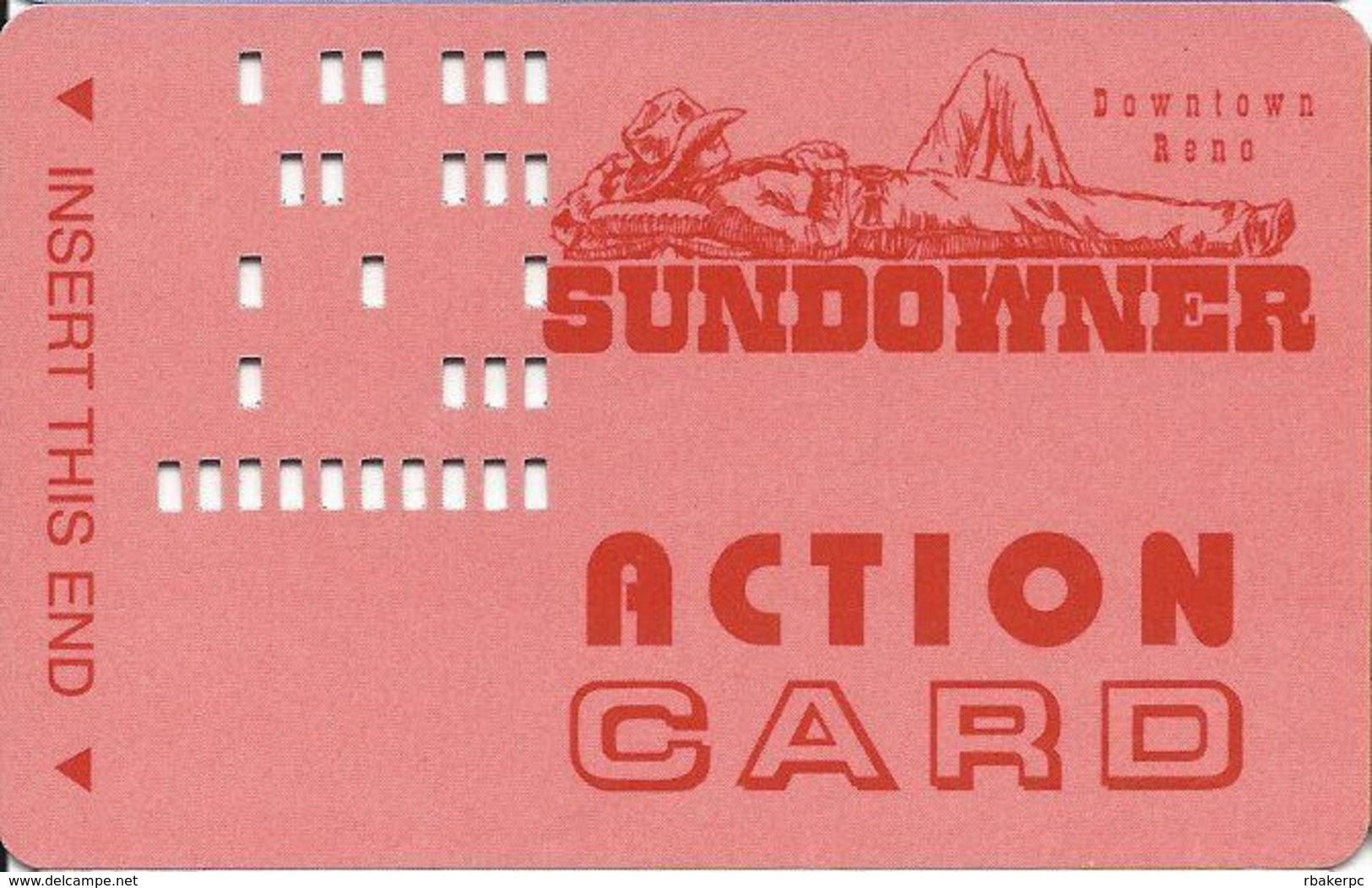 Sundowner Casino - Reno, NV - Action Card / Bus Card - DLR CP On Reverse - Casino Cards