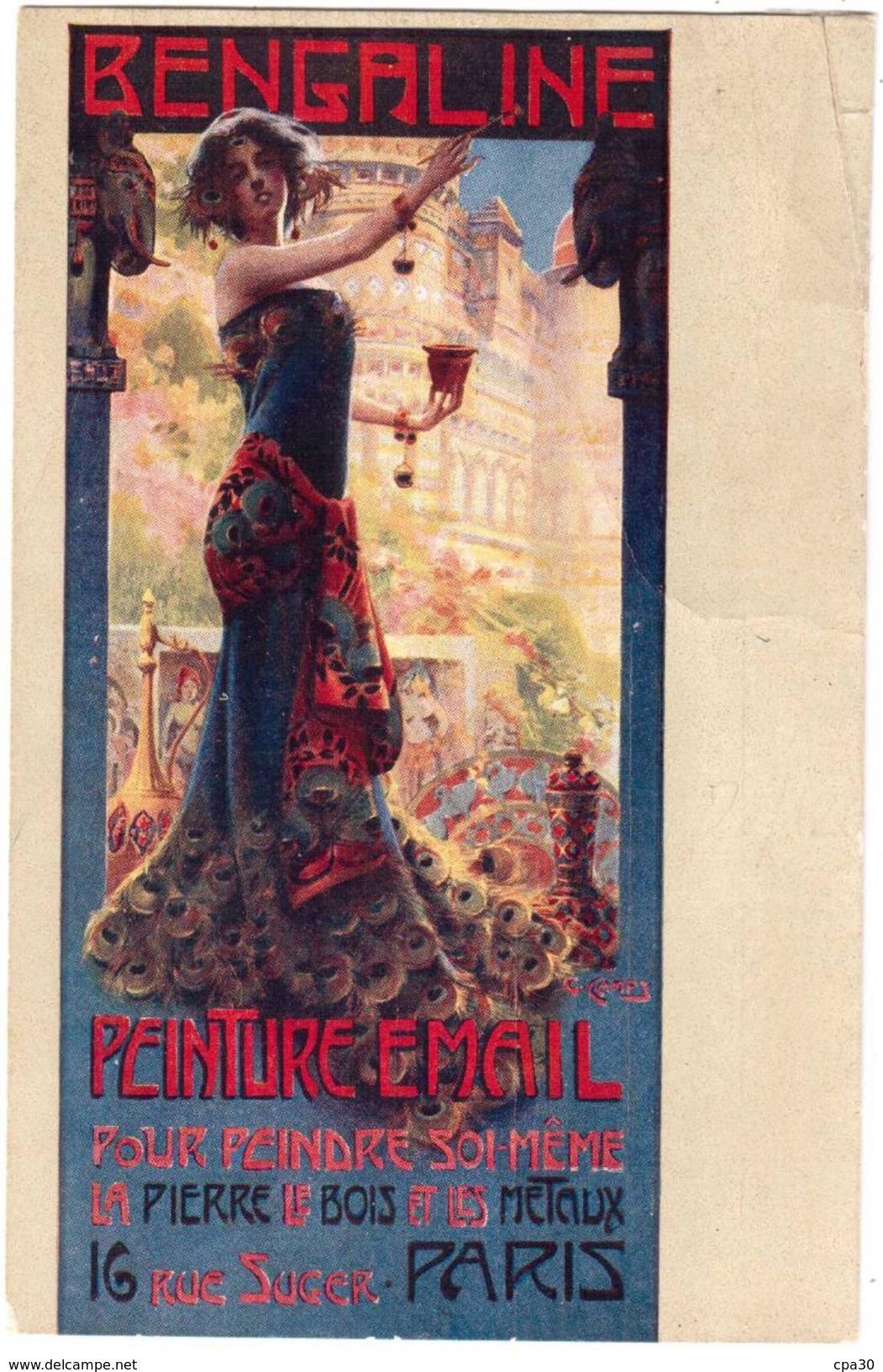 CPA ART NOUVEAU.ILLUSTRATEUR G  CAMPS.DIT LE MUCHA CATALAN.PUBLICITE DE LA PEINTURE EMAIL BENGALINE - France