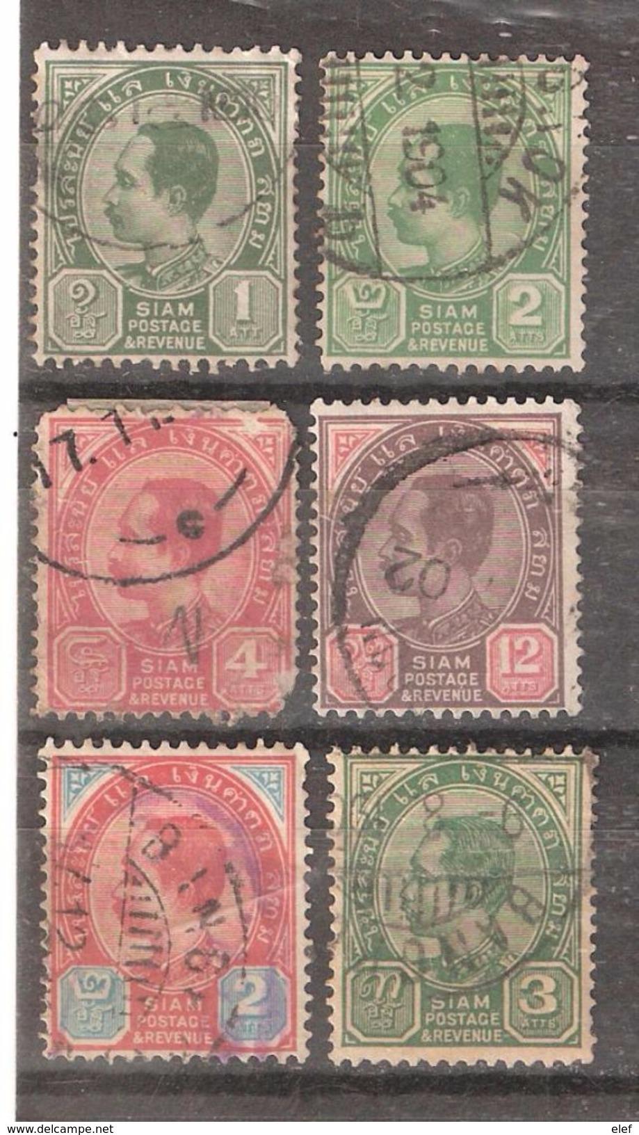 SIAM 1900 - 1904 , Chulalongkorn 1 Er , 6 Timbres  Obl: Yvert N° 32,33,35 ( Non Compté) 38,43 & 44, TB Cote 16 E - Siam