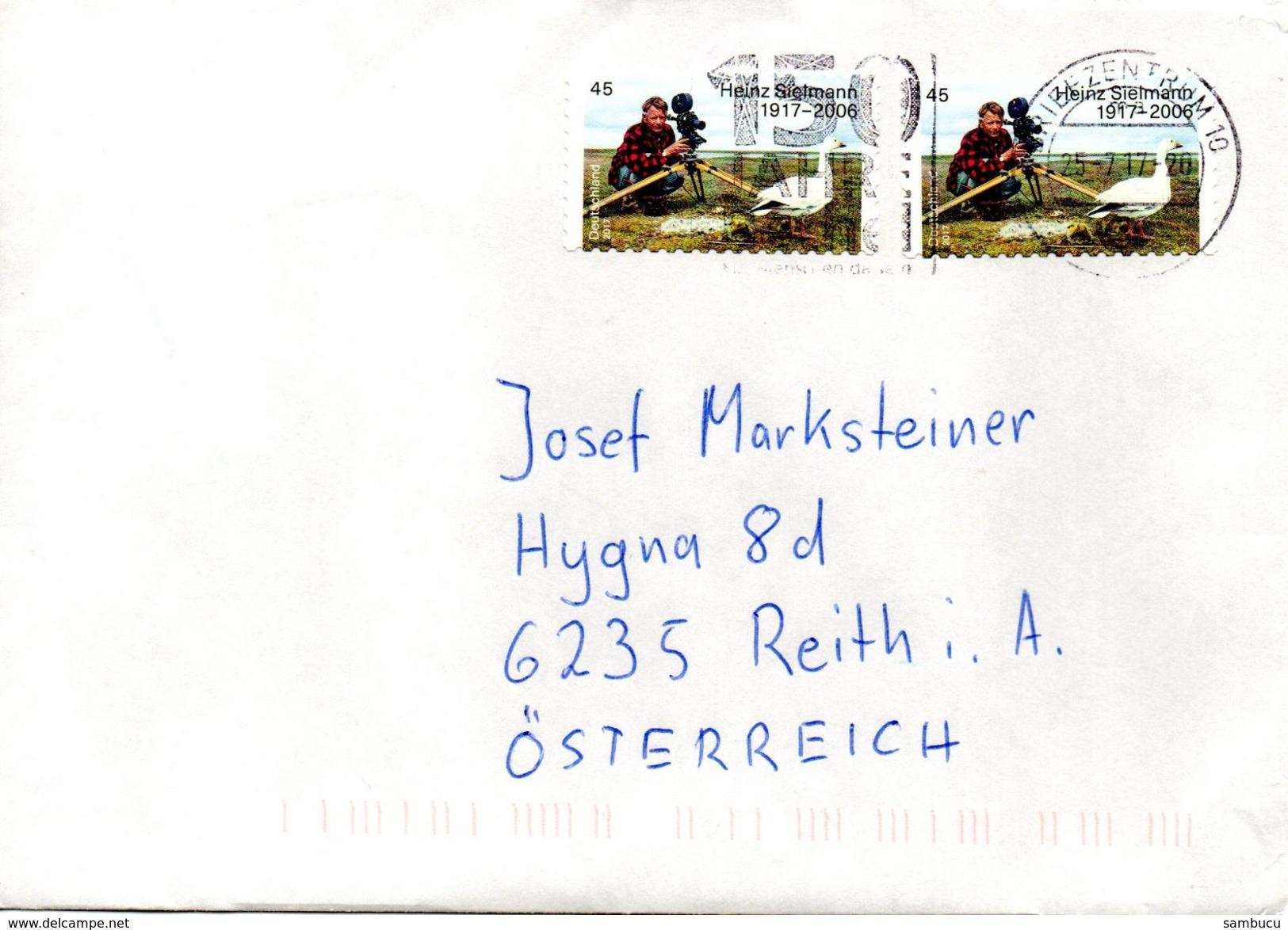Auslands - Brief Von Briefzentrum 10 Mit 2x 45 Cent Heinz Sielmann + 150 Jahre Bethel 2017 - BRD