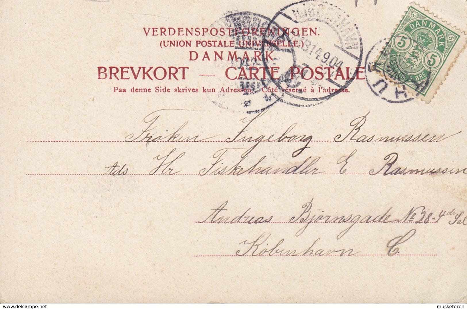 Denmark PPC Strandparti Paa Turø Stjernestempel Star Cancel THURØ 1904 C. St. Eneret 906 (2 Scans) - 1864-04 (Christian IX)