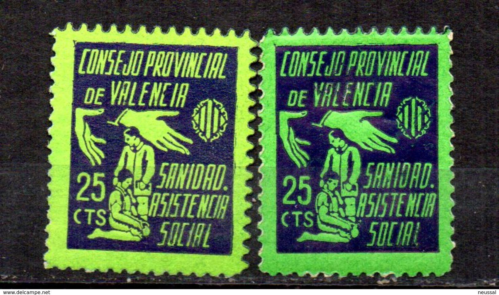 Viñetas Nº 10 Asistencia Social Sanidad Valencia. Colores Diferentes. - Viñetas De La Guerra Civil