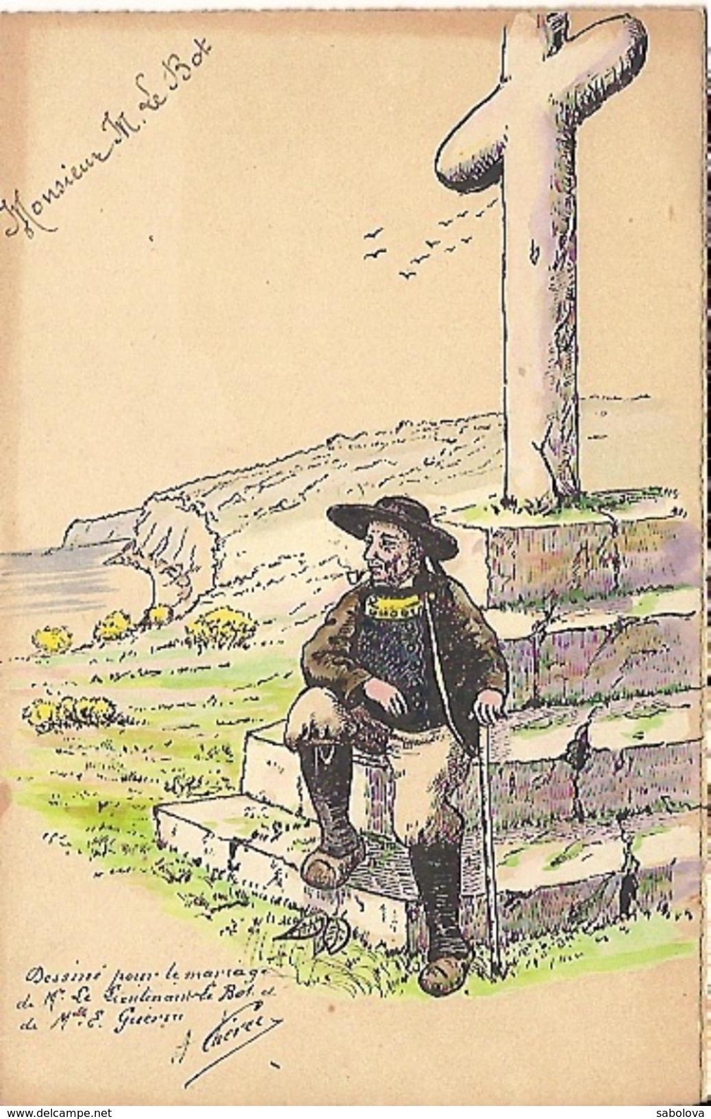 Menu Breton Aquarelle à La Main 21 Mai 1924 Lieutenant Le Bot Elle Guérin . Dessin : Breton Et Calvaire - Menus
