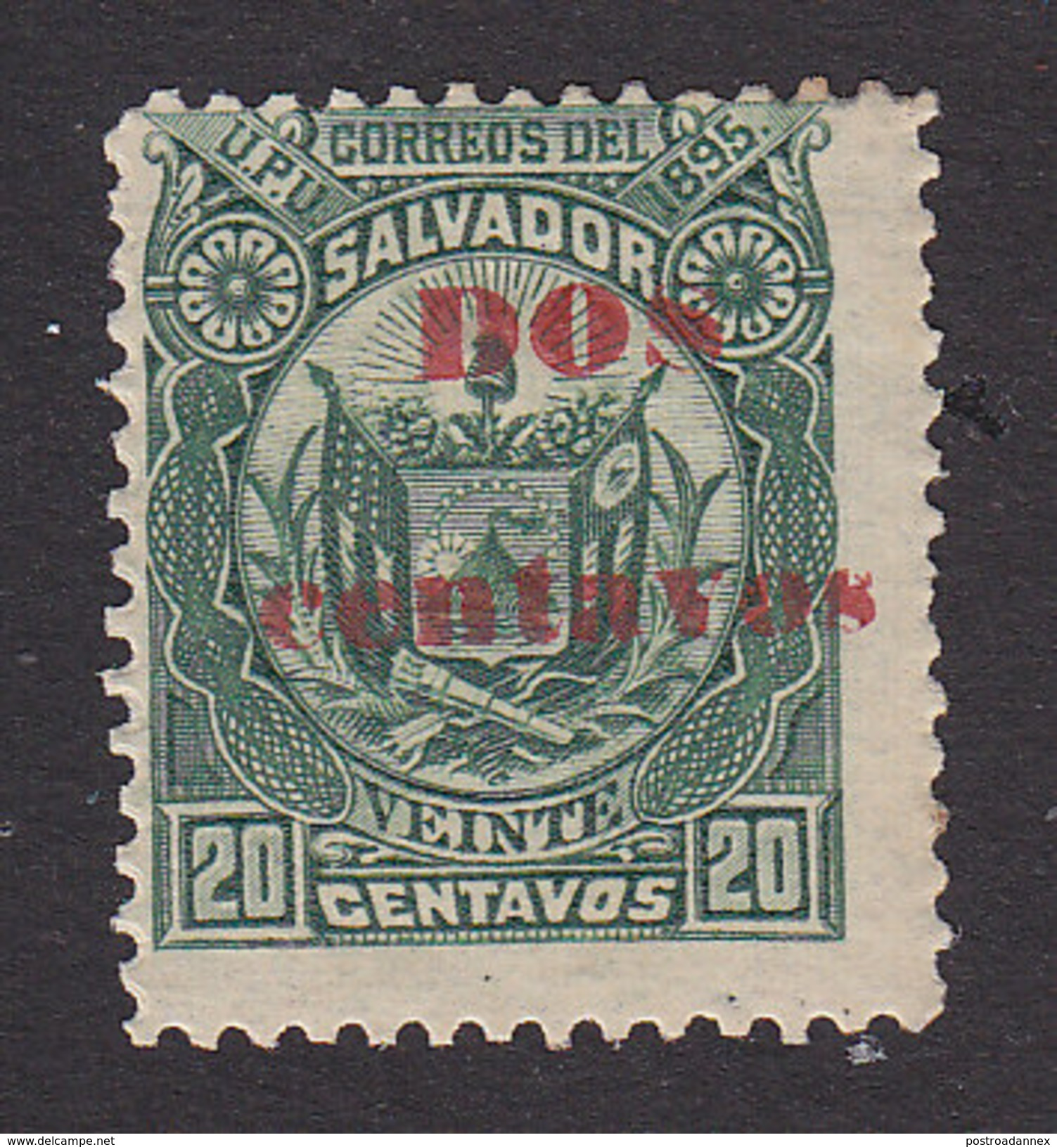 El Salvador, Scott #132, Mint Hinged, Arms Surcharged, Issued 1895 - El Salvador