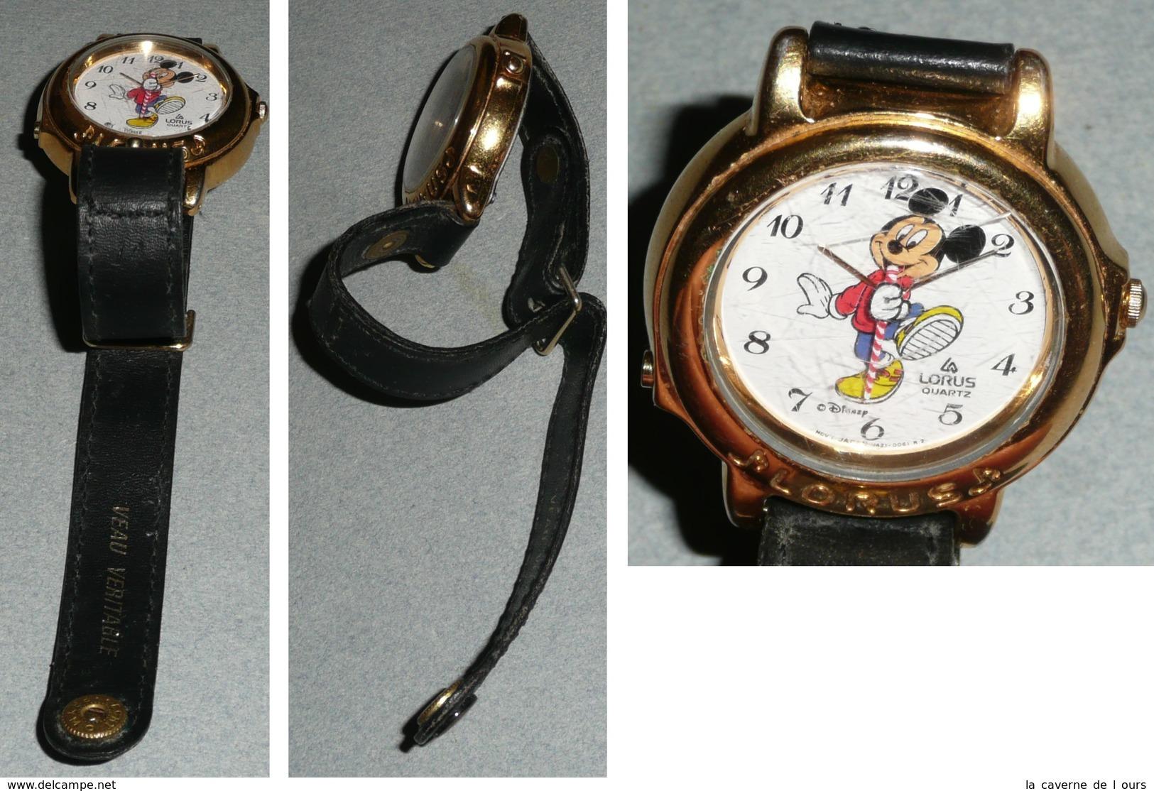 Rare Montre à Quartz Mickey Walt Disney LORUS, Bracelet Cuir - Montres Publicitaires