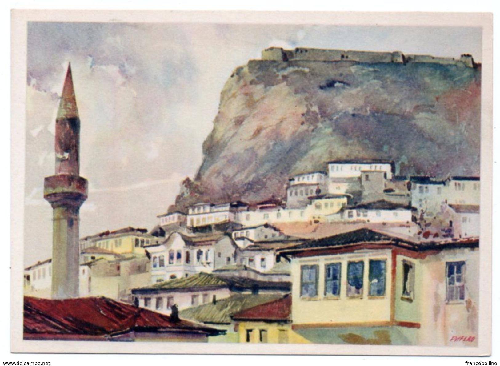 ALBANIE/ALBANIA - BERATI/BERAT PARTE DELLA CITTA' E LA FORTEZZA /MOSCHEA-MOSQUE / ILLUSTRATORE PIFFERO - Albania