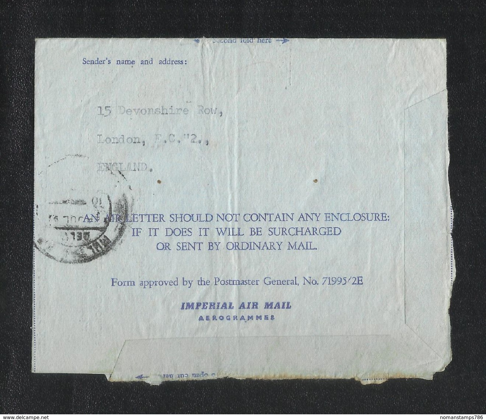 Great Britain England 1967 Slogan Postmark Air Mail Postal Used Air Letter Aerogramme Cover London To Pakistan - Stamped Stationery, Airletters & Aerogrammes