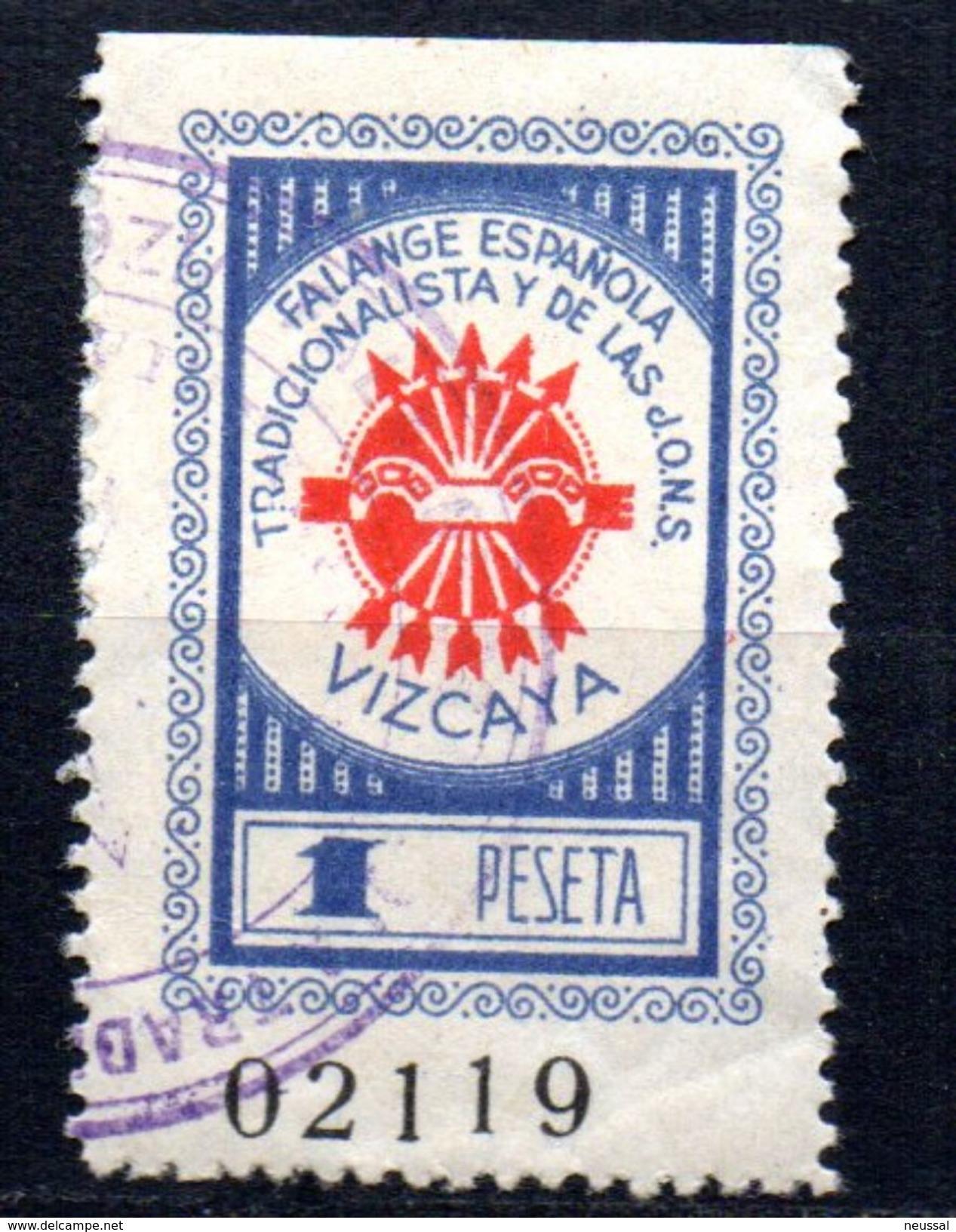 Viñeta Nº 8  Falange Española  Vizcaya. - Viñetas De La Guerra Civil
