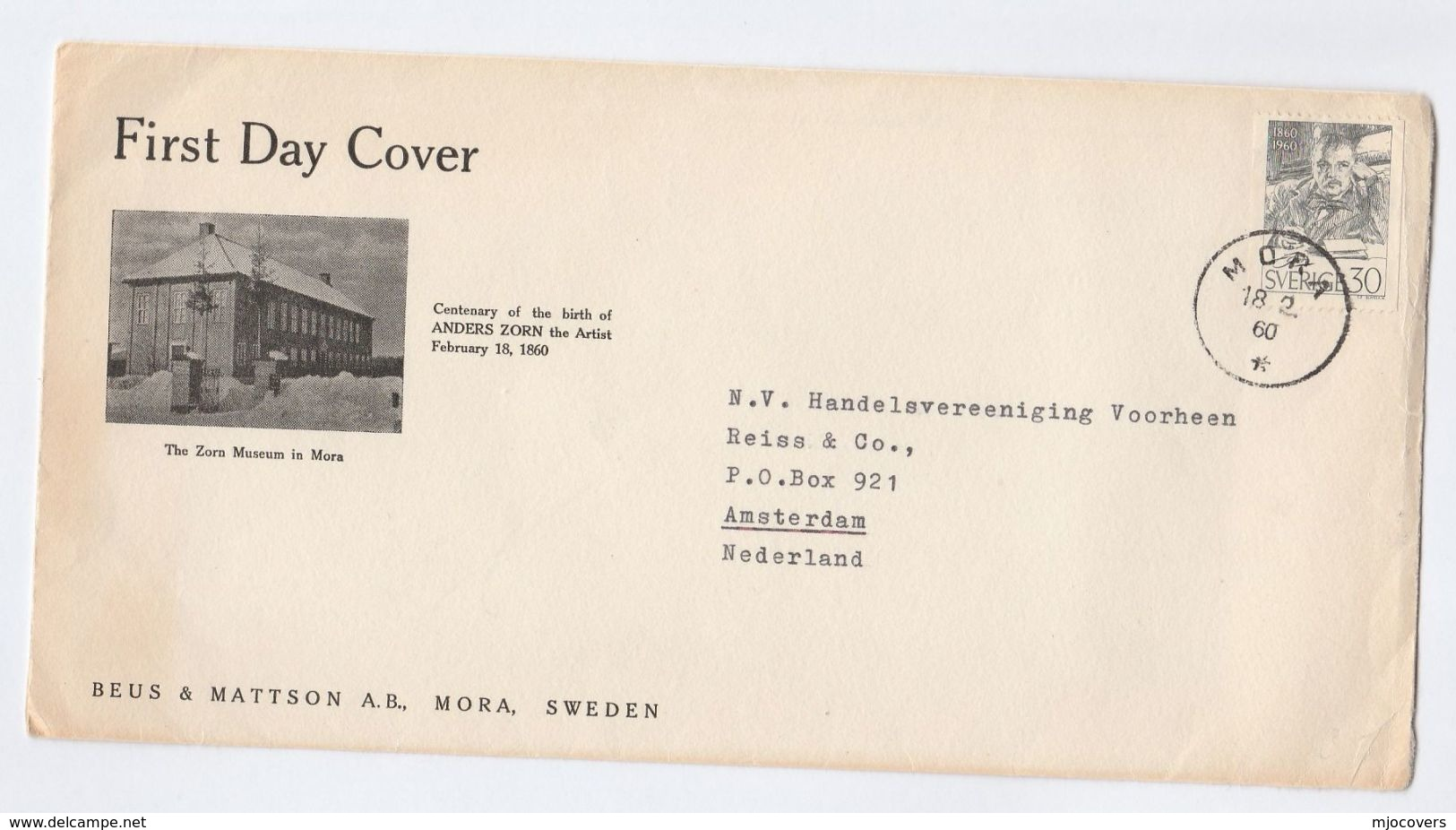 1960 Mora SWEDEN Special ZORN MUSUEM  FDC Anders ZORN Artist Stamps Art - FDC