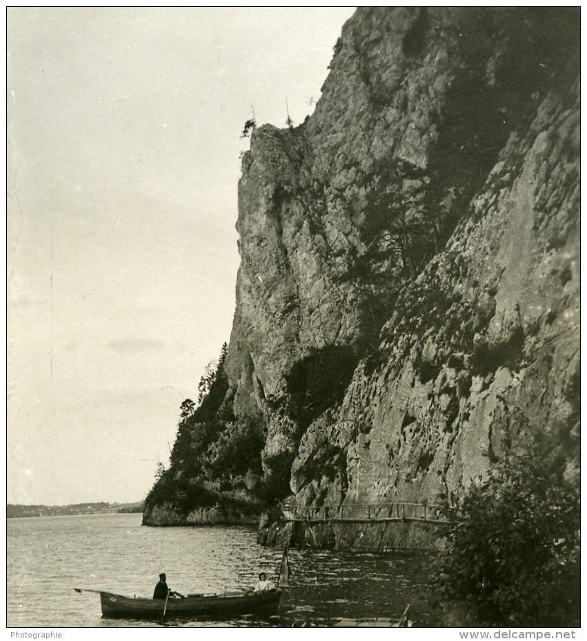 Autriche Salzkammergut Gmunden Miesweg Am Traunstein Ancienne Stereo Photo Photochrom 1900 - Stereoscopic