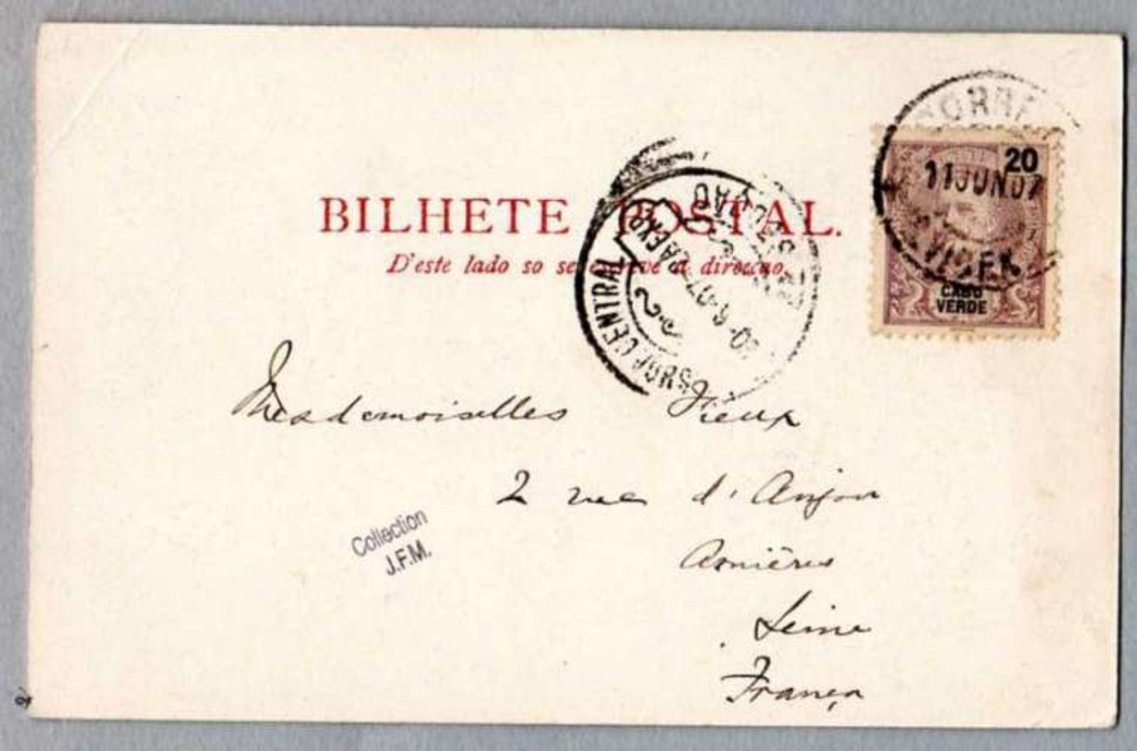 CAP VERT -  Cabo Verde - Fazenda Do Pena Santos - S. Vicente ( Avec Timbre Et Cachet 1907 ) - Cap Vert
