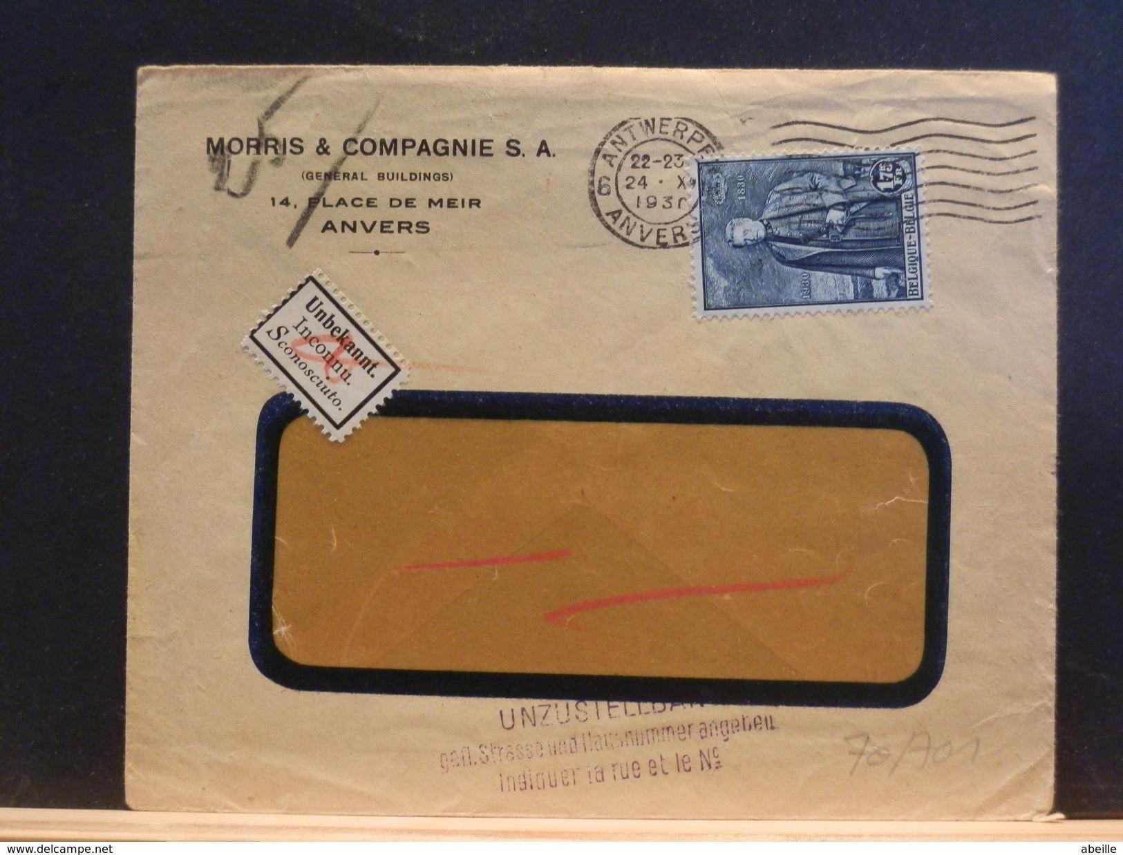 70/701  LETTRE 1930 POUR ALLEMAGNE RETOUR - België