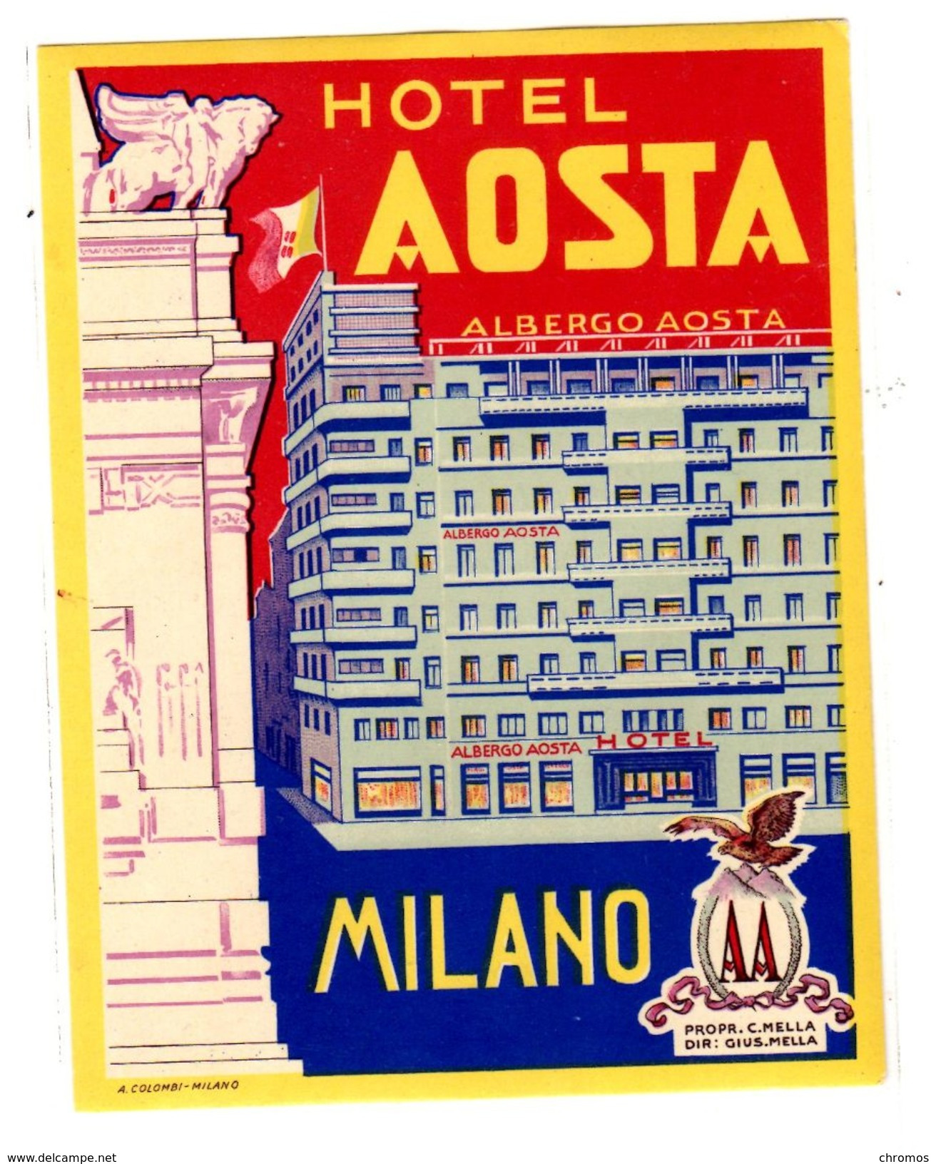 "Etiquette Label Hotel ""Aosta"" Milano, Italie - Etiquettes D'hotels"