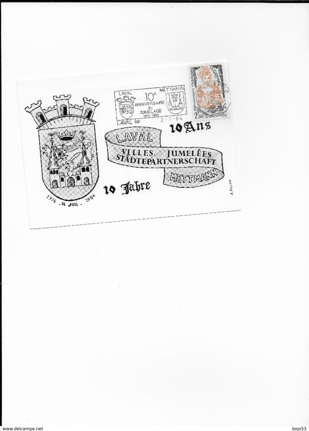 LAVAL 53- 10 Ans Jumelage Avec METTMANN Carte Avec Flamme Du 2 Juillet 1984 - Marcophilie (Lettres)