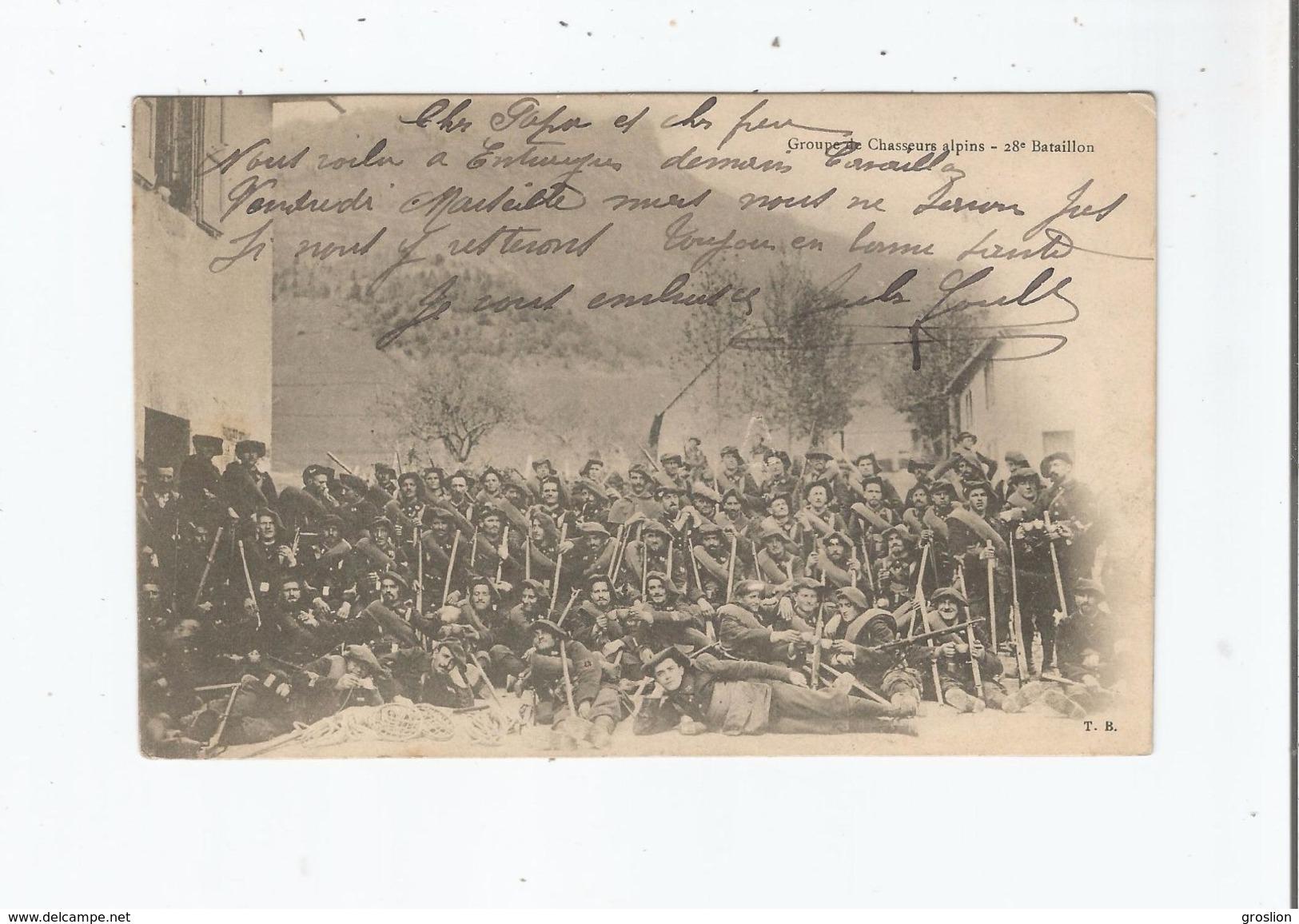 GROUPE DE CHASSEURS ALPINS . 28 EME BATAILLON (GRENOBLE ISERE) 1903 - Grenoble