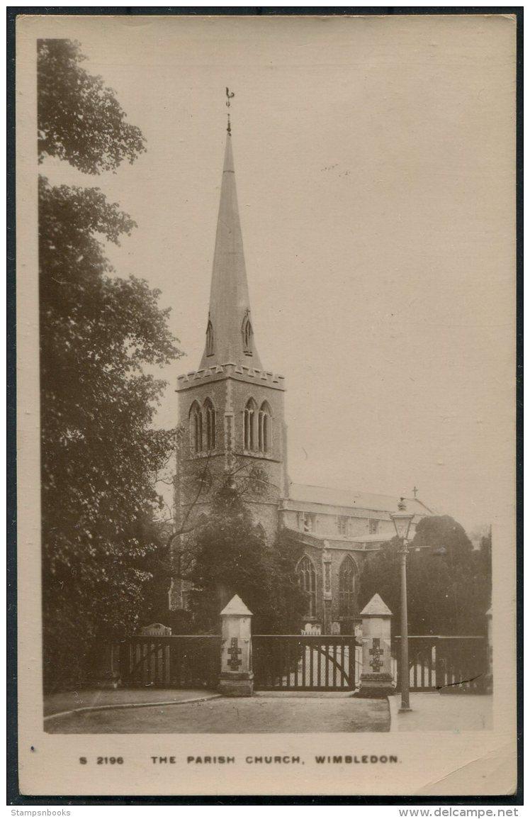The Parish Church Wimbledon. Kingway RP Postcard - Surrey