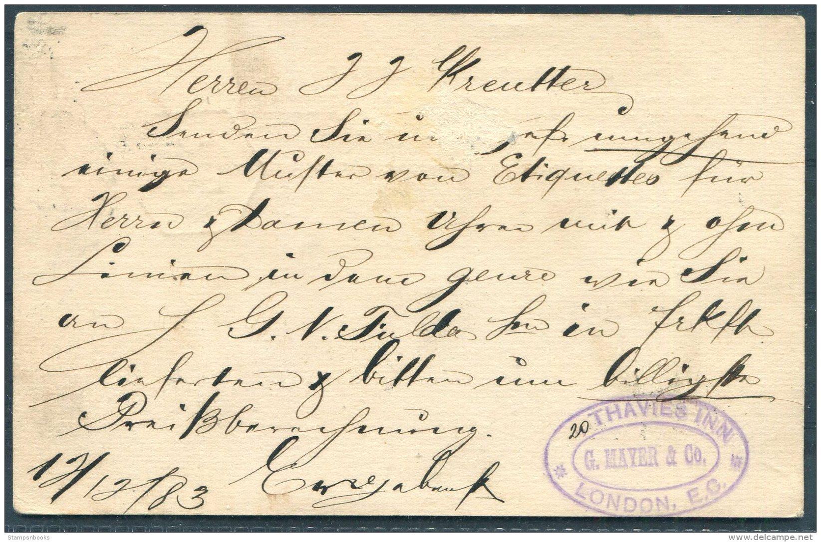 1883 GB Stationery Postcard Mayer & Co, Thavies Inn, London - Chaux De Fonds, Switzerland. 'TOO LATE' - Briefe U. Dokumente