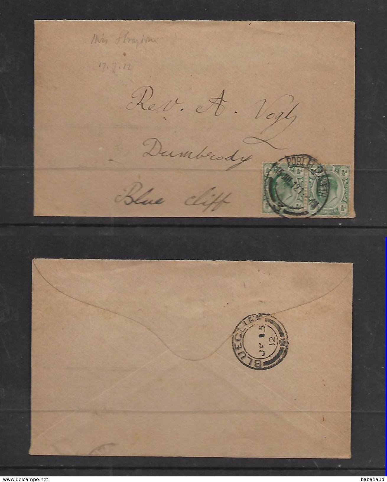 S.Africa, BLUECLIFF JY 15.12, Arrival C.d.s. On Cover From PORT ELIZABETH - South Africa (...-1961)