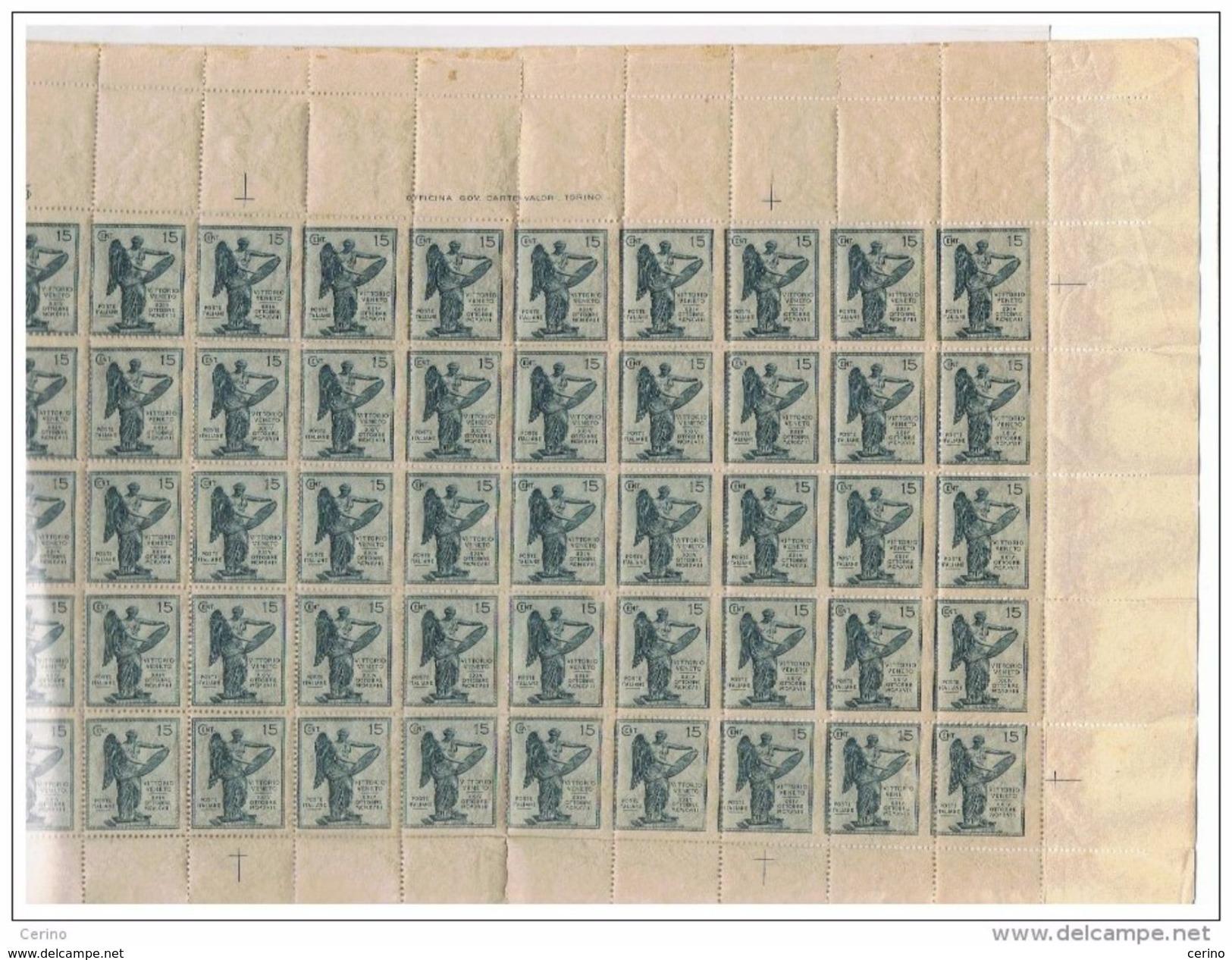REGNO: 1921  VITTORIA  ALATA  -  S. CPL. 4 VAL. FGL. 50  N. -  SASS. 119b + 120a + 121b + 122b  -  INSIEME  FORSE  UNICO - Nuovi