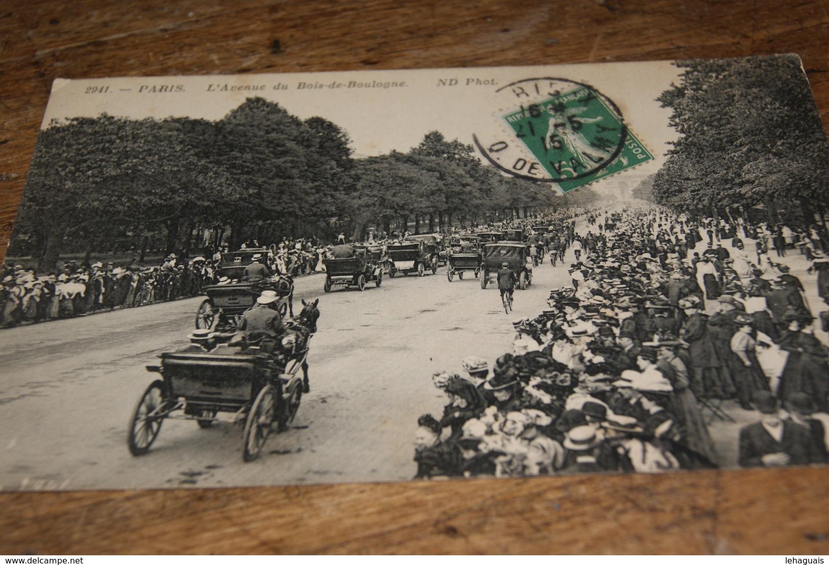 PARIS L'avenue Du Bois De Boulogne (animée) 1915 - Taxi & Carrozzelle