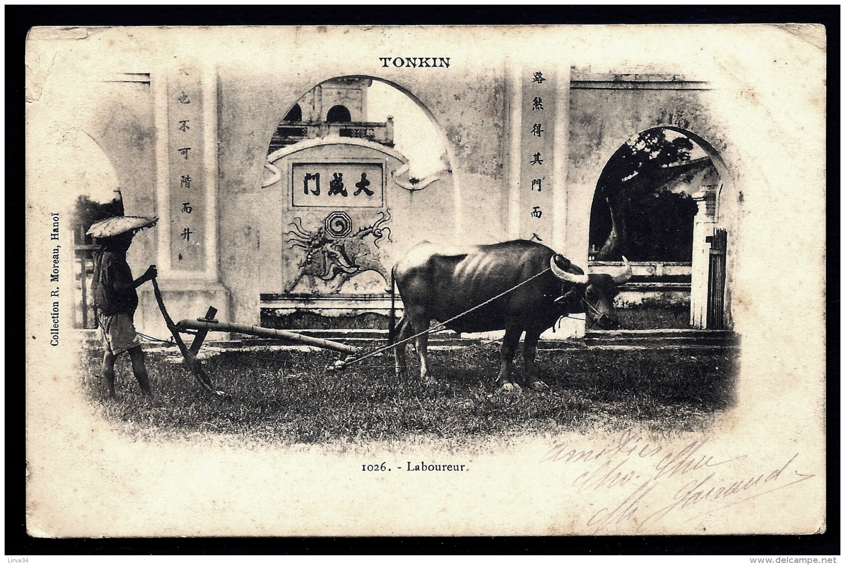 CPA PRECURSEUR INDOCHINE FRANCAISE- LE LABOUREUR EN 1900 AU TONKIN- TRES GROS PLAN- CHARRUE EN BOIS ET BUFFLE- - Vietnam