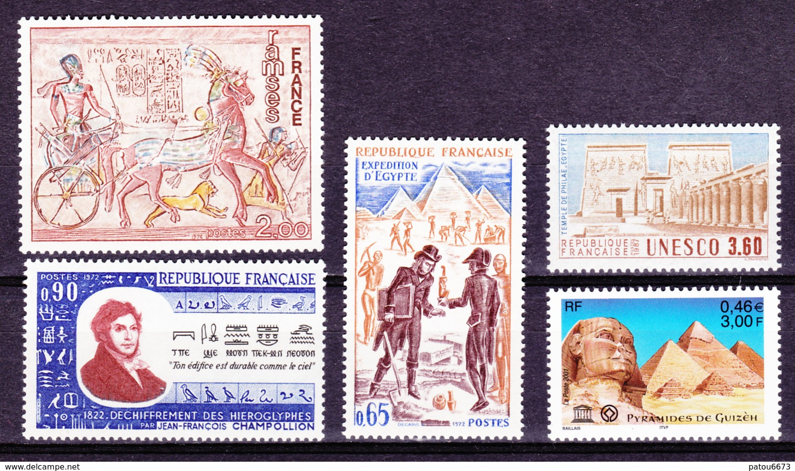 FRANCE 1972 To 2001 Egypt Archeology, 5 Stamps (Ramses, Gyzeh Pyramids, Abu-Simbel Champollion...) MNH Luxe - Archeologia