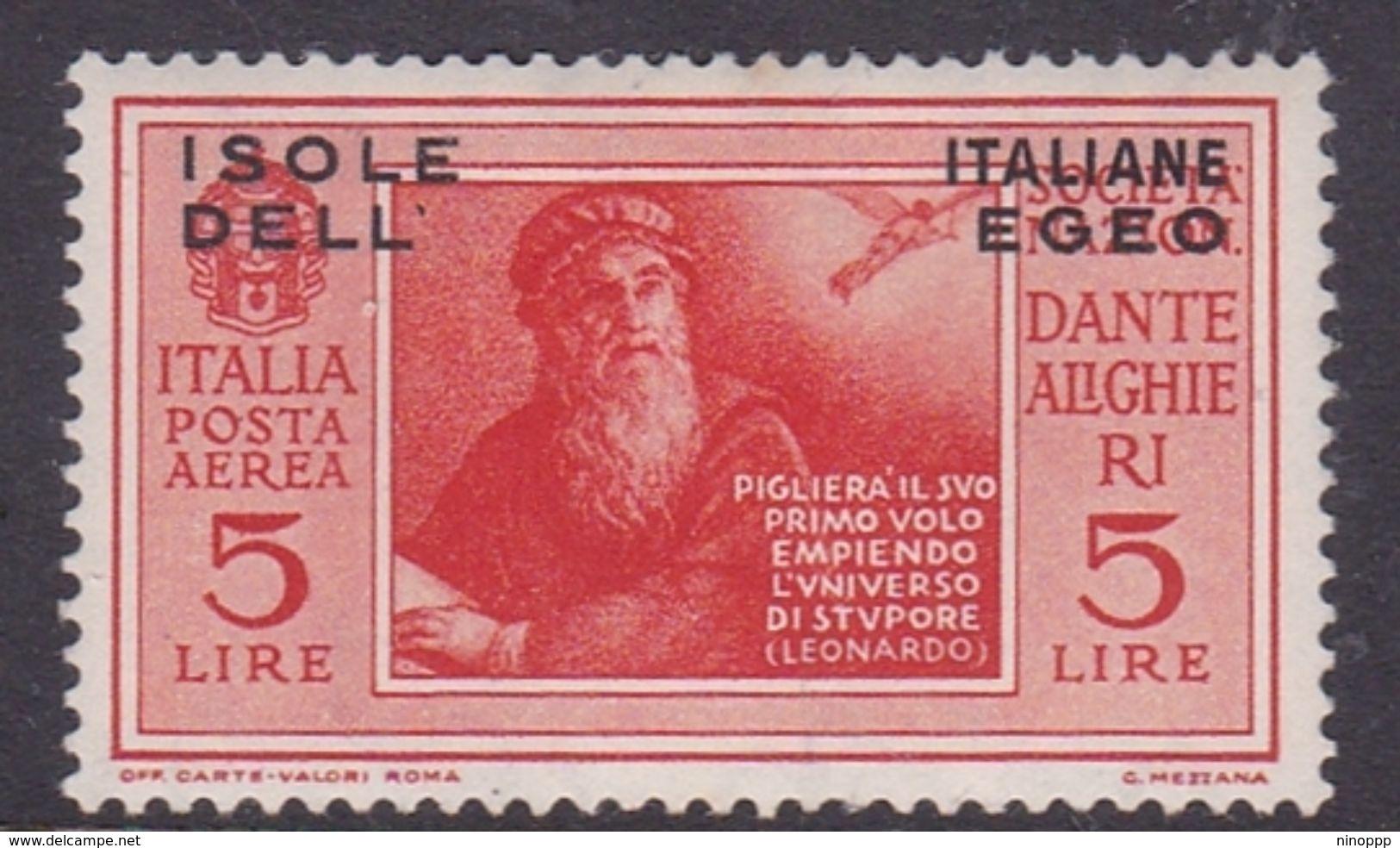 Italy-Colonies And Territories-Aegean General Issue-Rodi A11 1932 Air Mail Dante Alighieri 5 Lire Orange MH - Italy