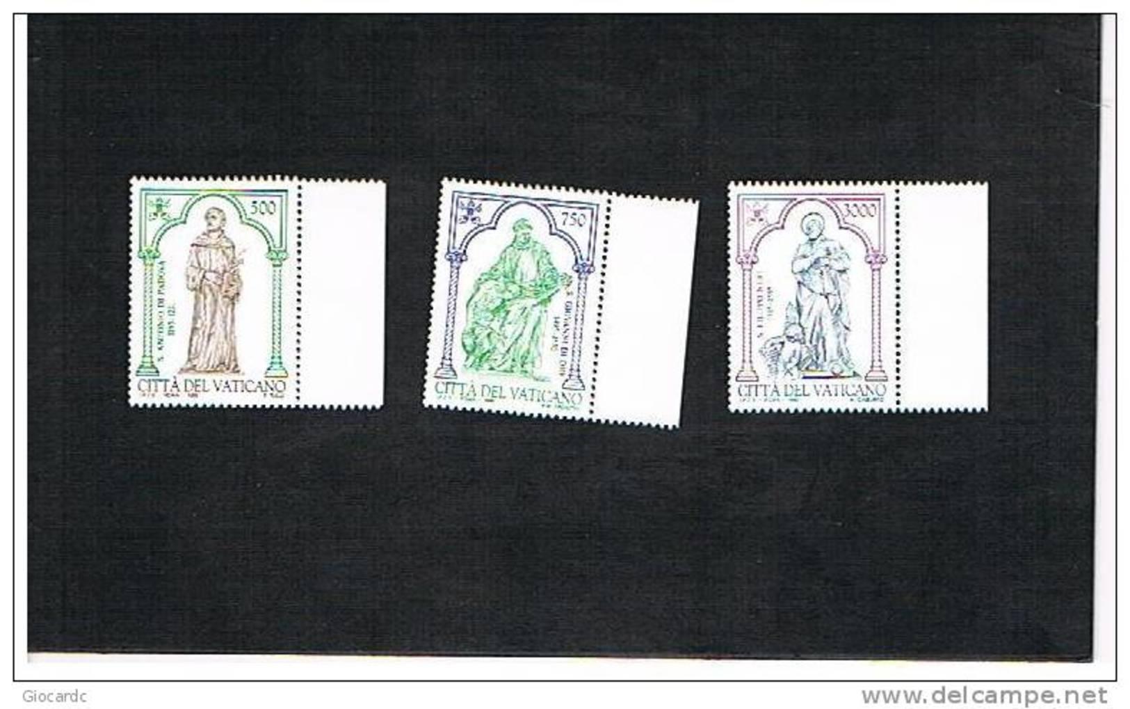 VATICANO - UNIF.1032.1034 -1995 ANNIVERSARI: S.ANTONIO DA PADOVA, S. GIOVANNI DI DIO, S.FILIPPO NERI -   NUOVI  (MINT)** - Vaticano (Ciudad Del)