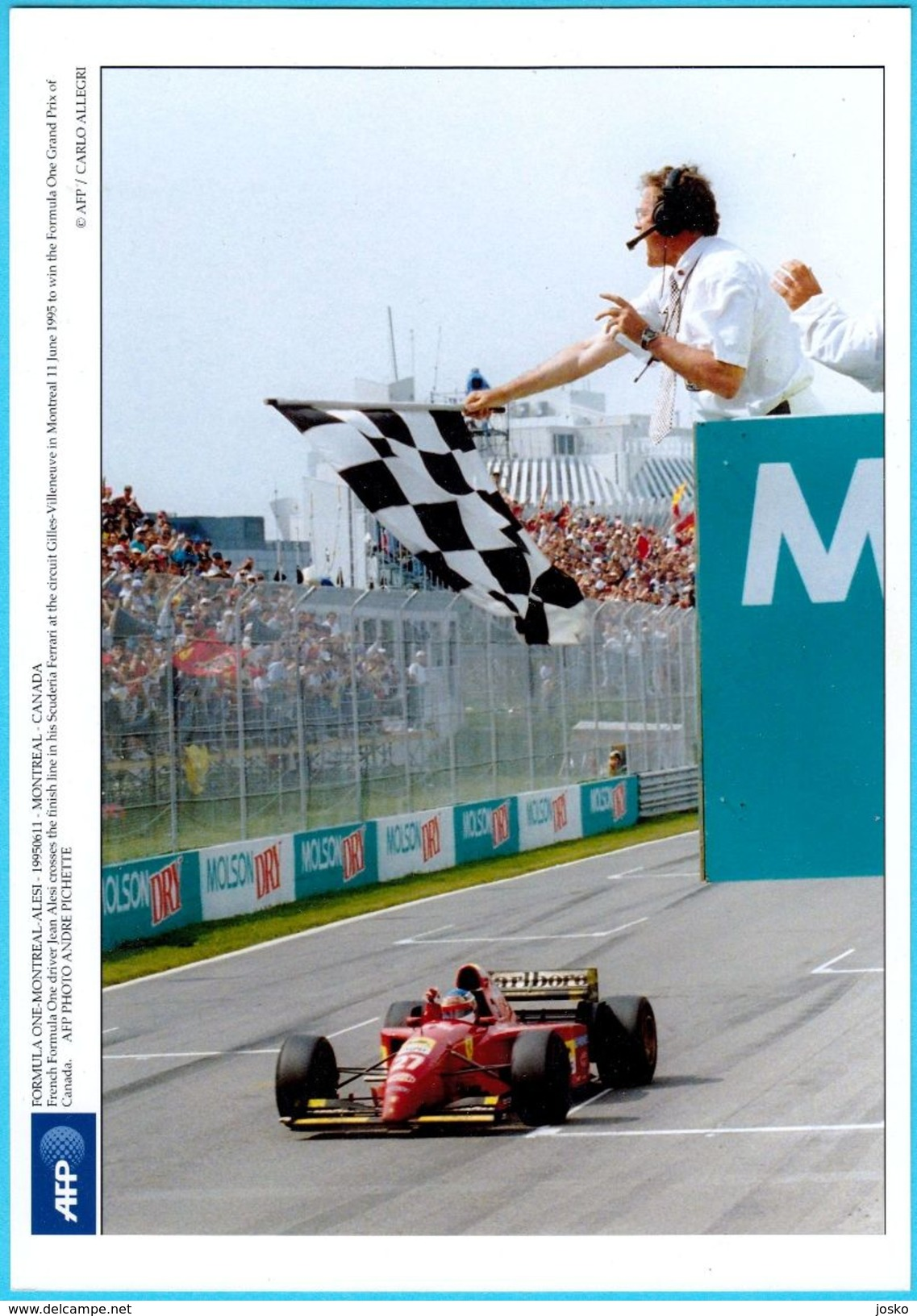 JEAN ALESI - Canada Grand Prix Montreal 1995. *** BEAUTIFULL LARGE PHOTO *** Ferrari F1 Formula 1 Car Automobile - Car Racing - F1