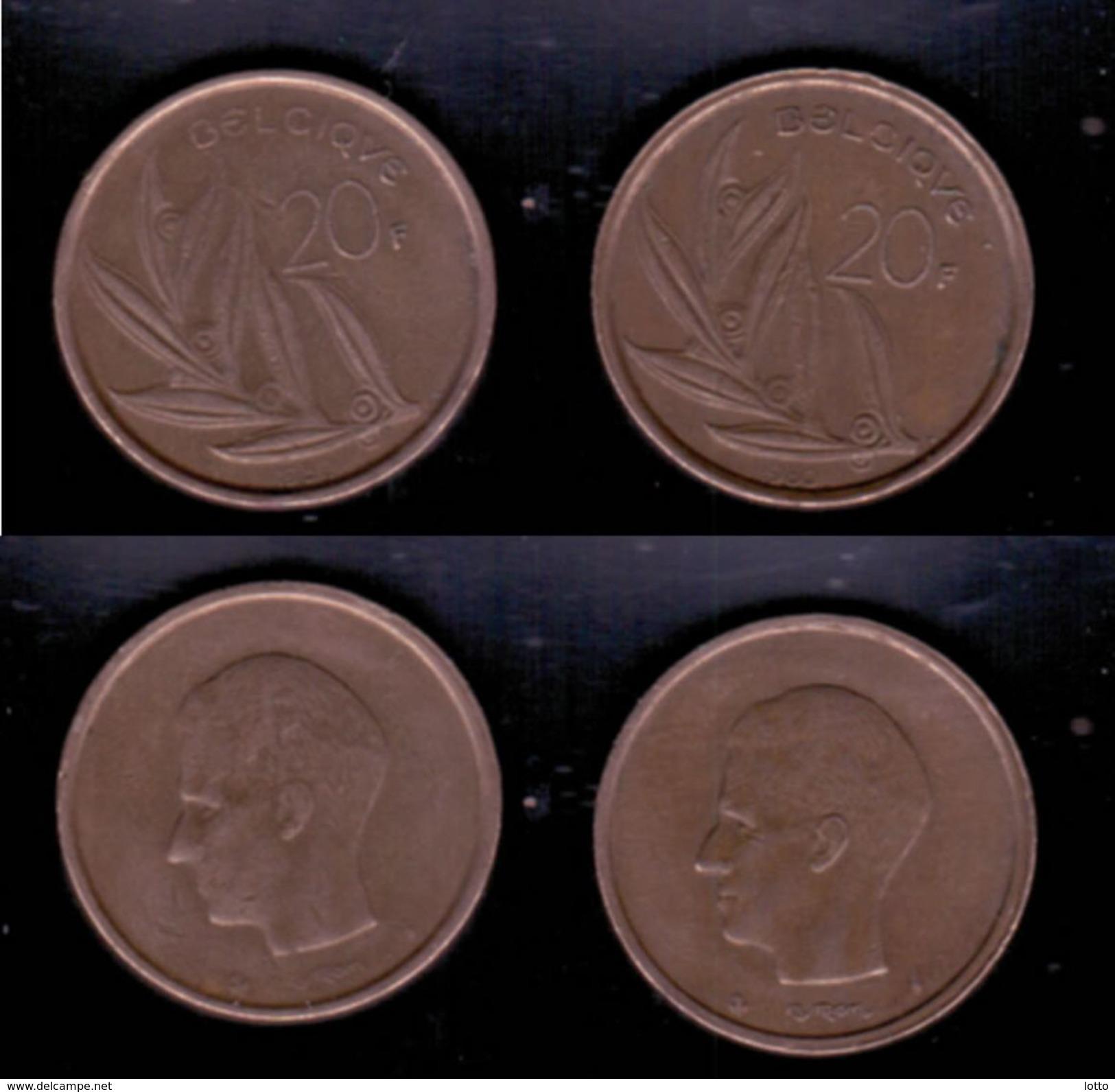 Belgien 2x 20 Franc, 1980, 1982 - 07. 20 Francs