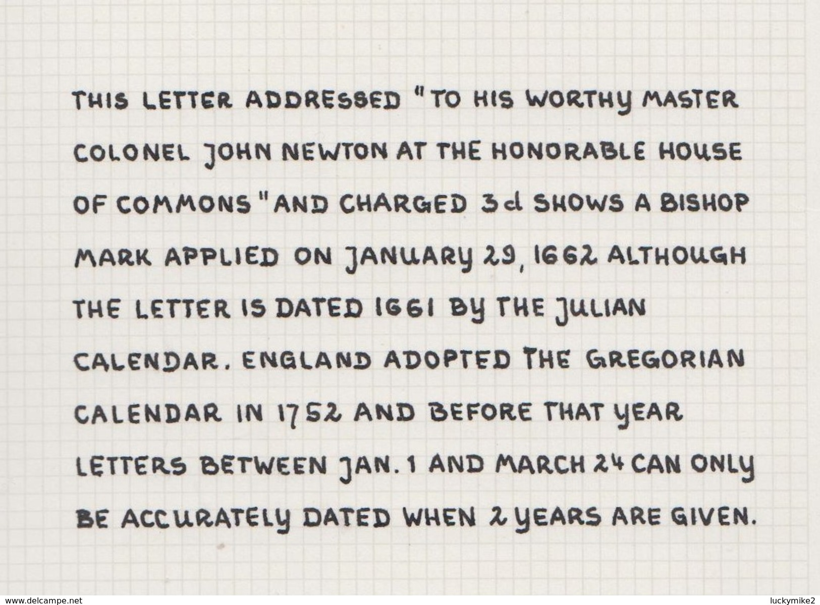 """1662 Letter """"to His Worthy Master Colonel John Newton"""" From """"John Padman, Thorpe"""", With An Early Bishopmark.  Ref 0402 - Postmark Collection"""