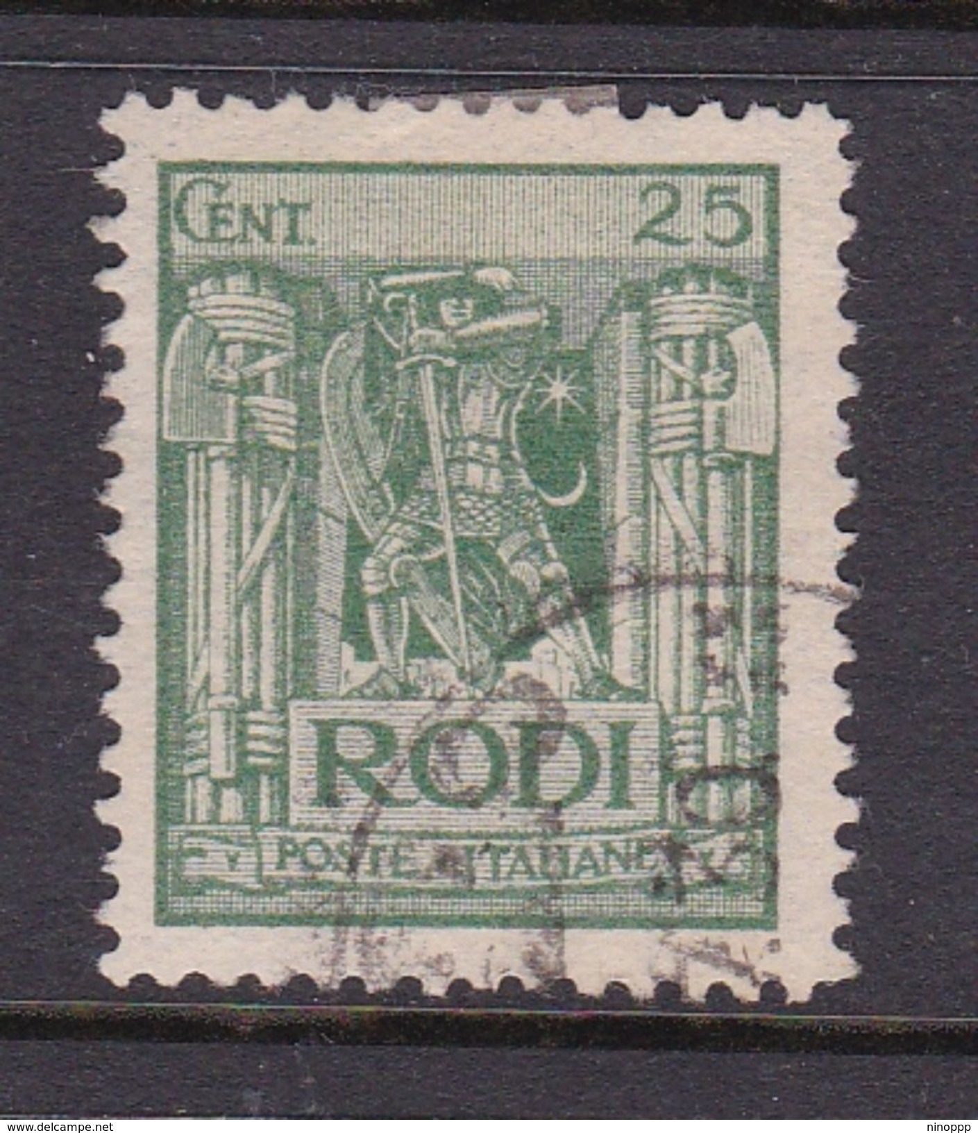Italy-Colonies And Territories-Aegean General Issue-Rodi S6 1929 Pictorials Perf 11 25c Green Used - Italy