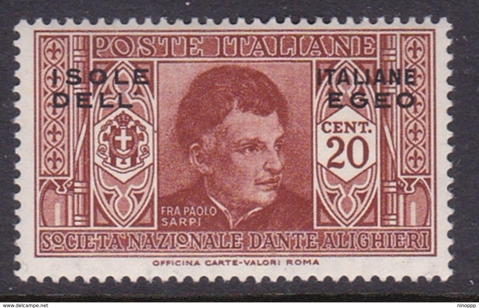 Italy-Colonies And Territories-Aegean General Issue-Rodi S46 1932 Dante Alighieri 20c Brown Orange MH - Italy