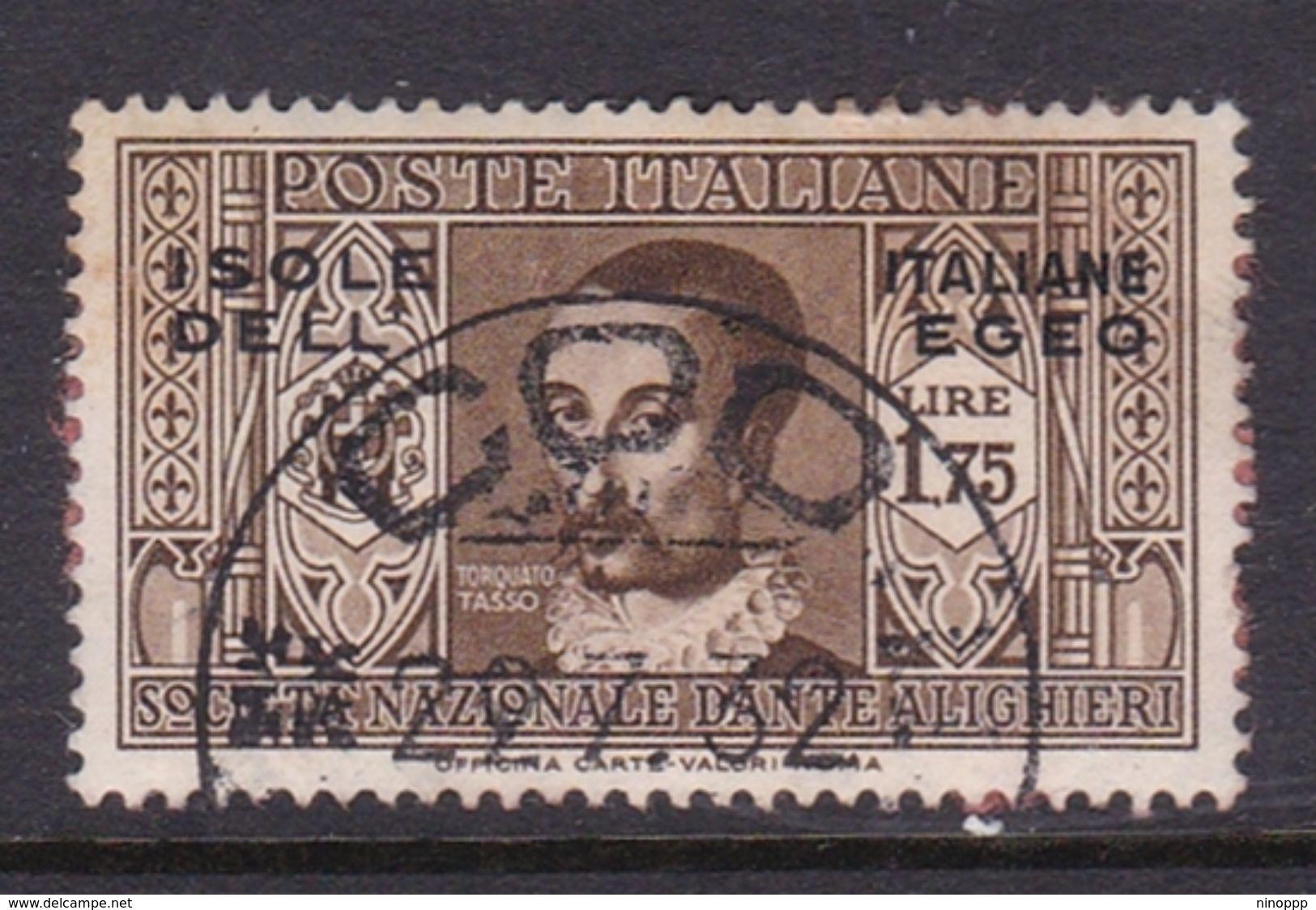 Italy-Colonies And Territories-Aegean General Issue-Rodi S52 1932 Dante Alighieri Lire 1,75 Brown Used - Italy